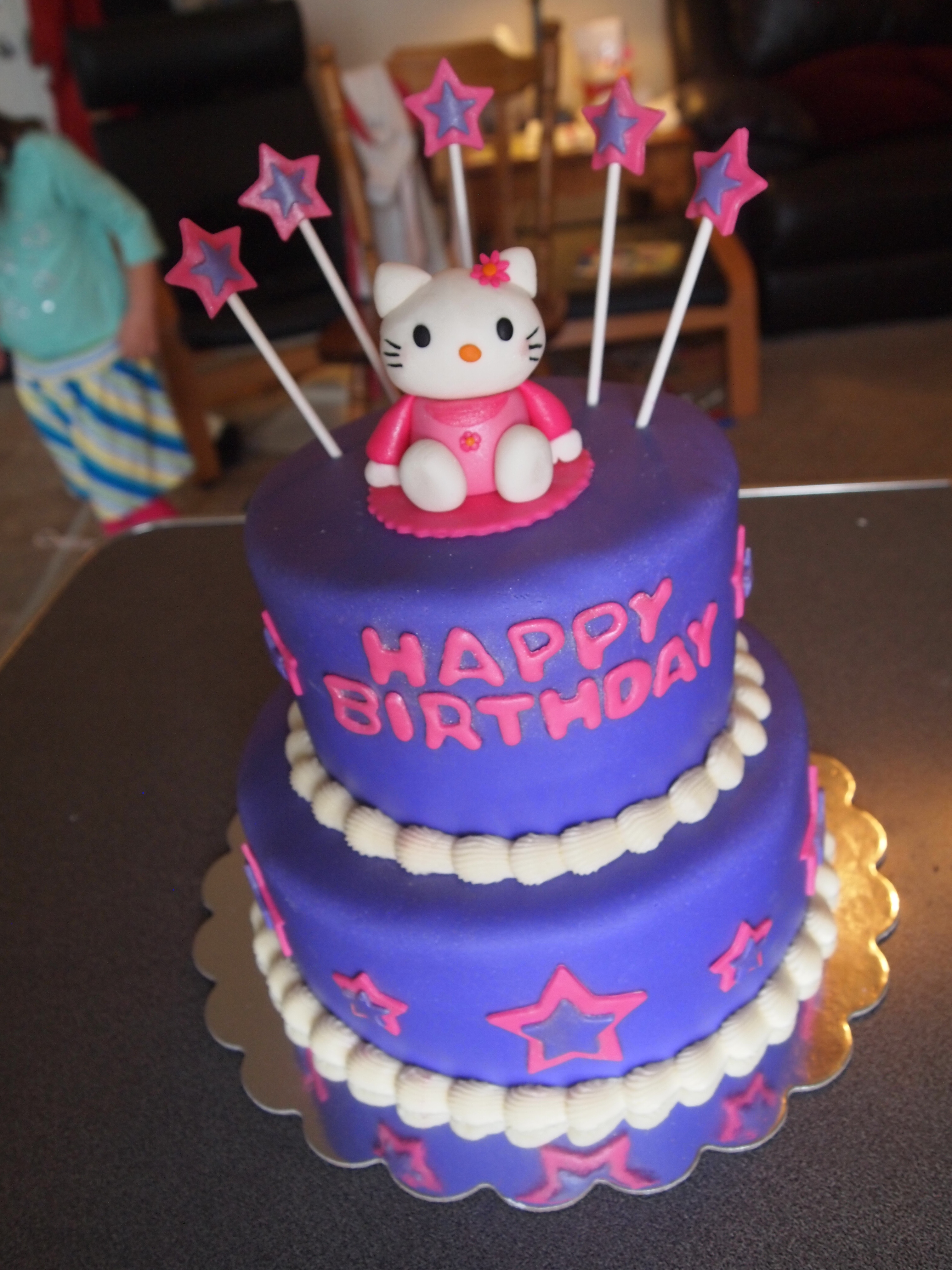 Pink and Purple Hello Kitty Cake