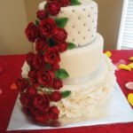 Rose and Mum Wedding Cake